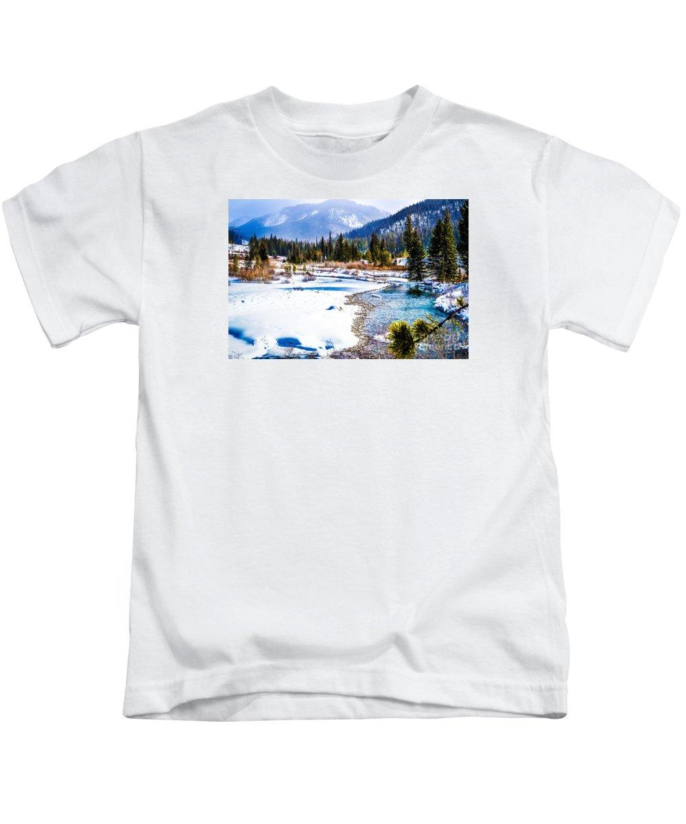 Winter Kids T-Shirt featuring the photograph Winter On The River by Jim Schlottman