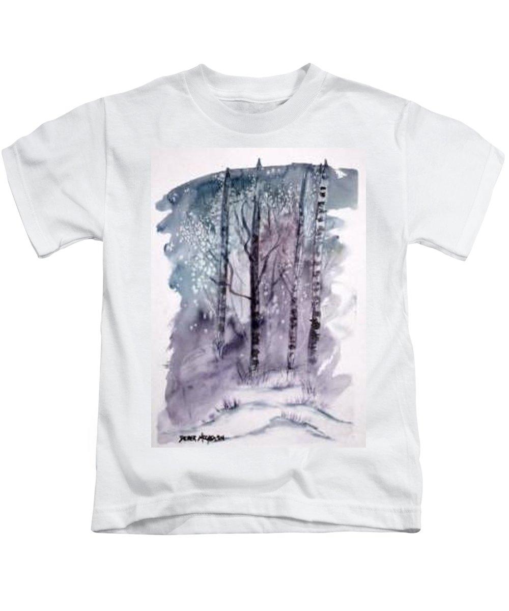 Watercolor Landscape Painting Kids T-Shirt featuring the painting WINTER snow landscape painting print by Derek Mccrea