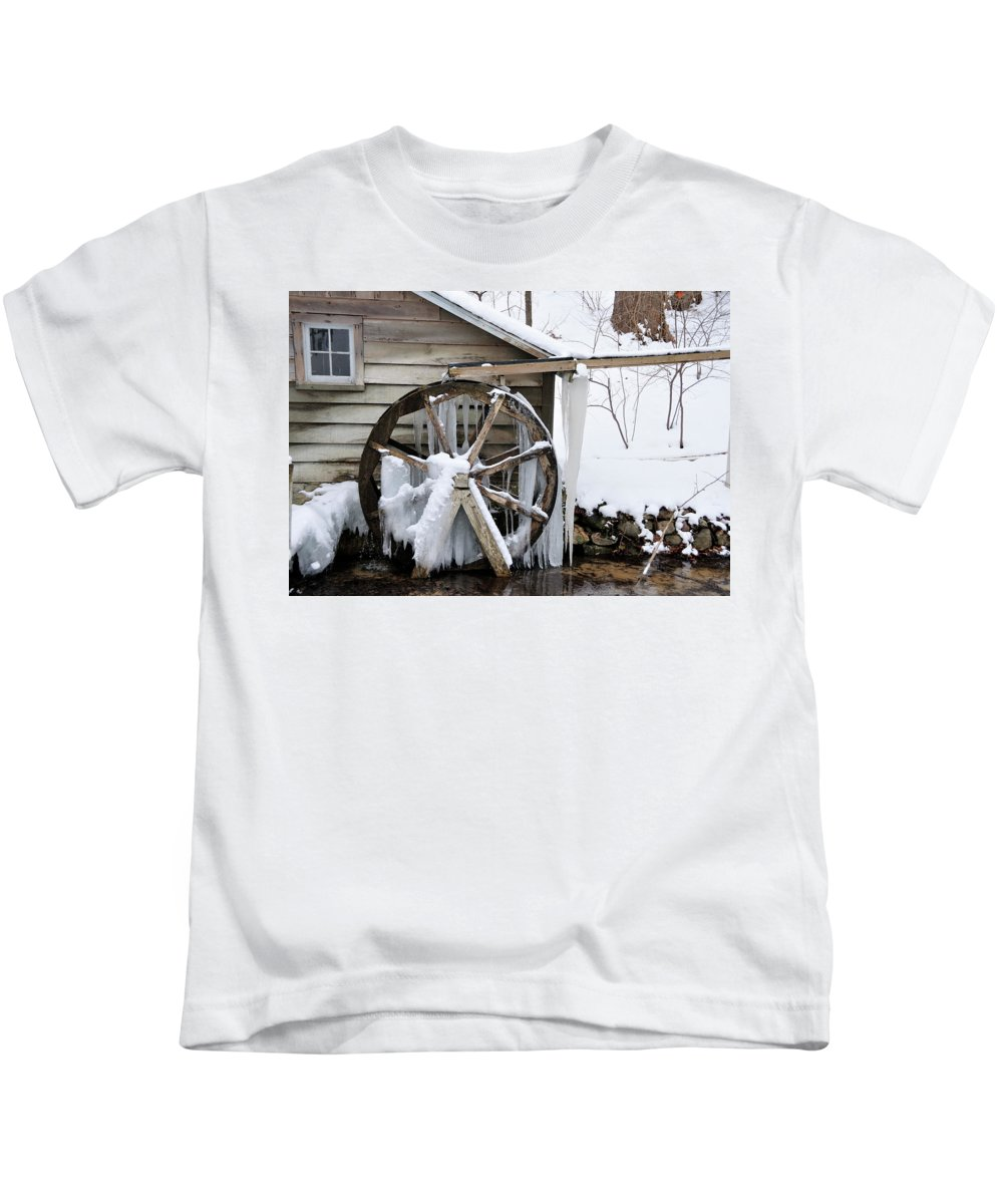 Mill Kids T-Shirt featuring the photograph Winter Wheel by David Arment