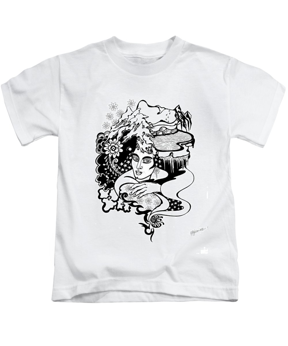Snow Kids T-Shirt featuring the drawing Winter by Yelena Tylkina