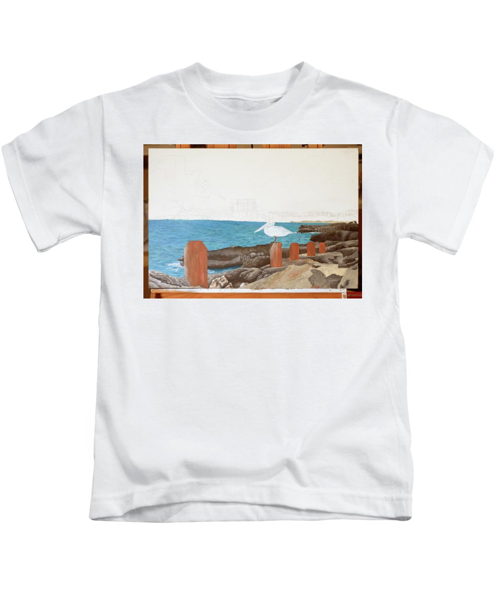 Kids T-Shirt featuring the painting Wip- Pelican 01 by Cindy D Chinn
