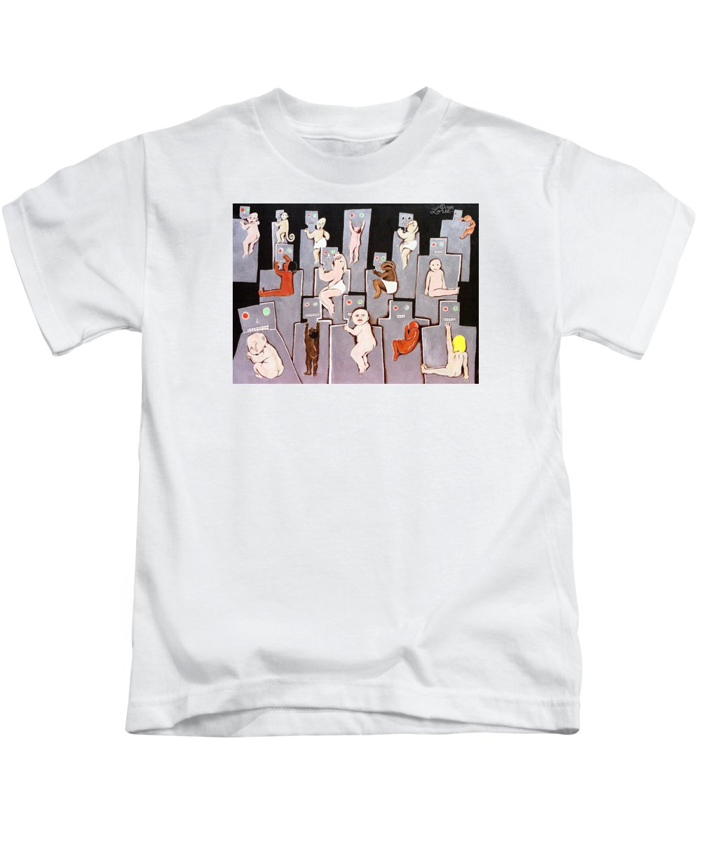Holding Kids T-Shirt featuring the painting Wire Mothers by Sharron Loree
