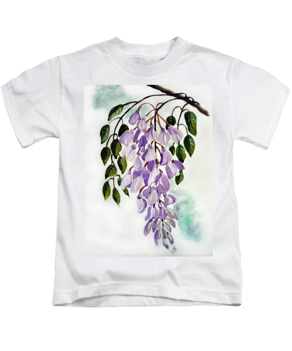 Floral Paintings Flower Paintings Wisteria Paintings Botanical Paintings Flower Purple Paintings Greeting Card Paintings  Kids T-Shirt featuring the painting Wisteria by Karin Dawn Kelshall- Best
