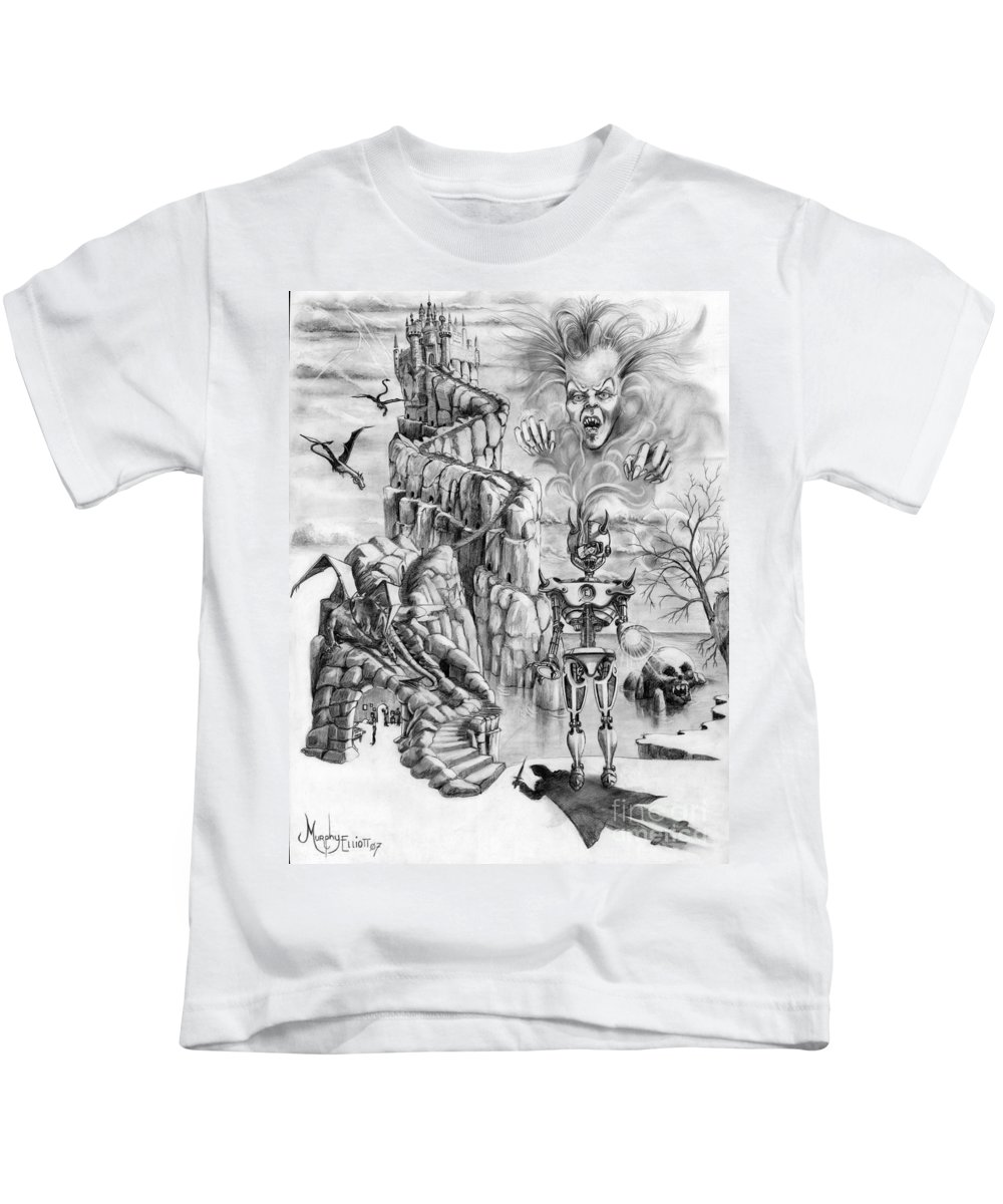 Witch Kids T-Shirt featuring the drawing Witch Hunter by Murphy Elliott
