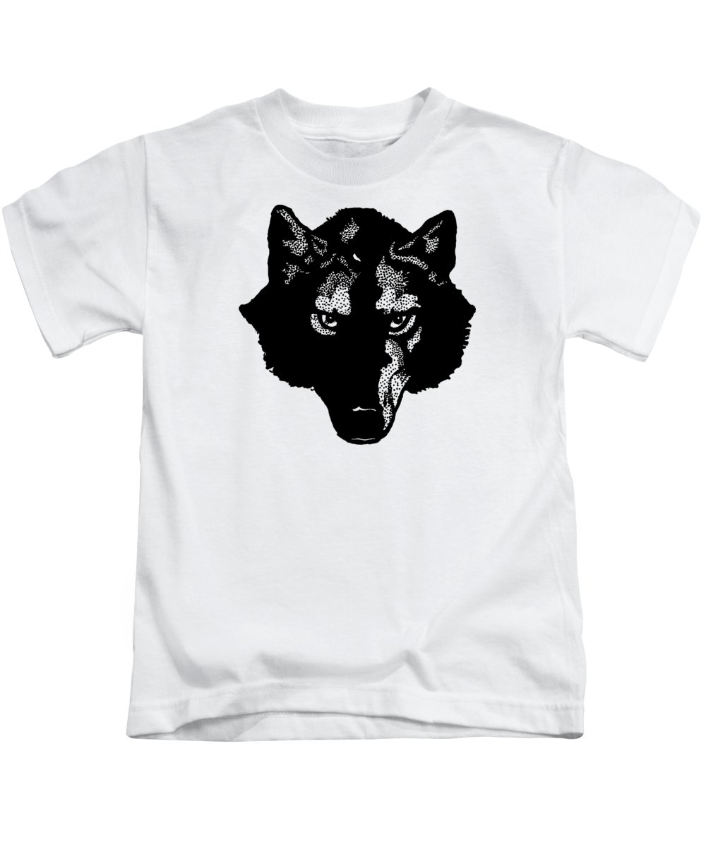 Wolf; Symbol; Graphic; Drawing; Team; Sport; Shirt; T-shirt; Animal; Wolves; Dog; Canine; Fielding; Edward; Vintage; Old; Bookmark; Jack London; Design; Illustration; Drawing; Classic Kids T-Shirt featuring the digital art Wolf Tee by Edward Fielding