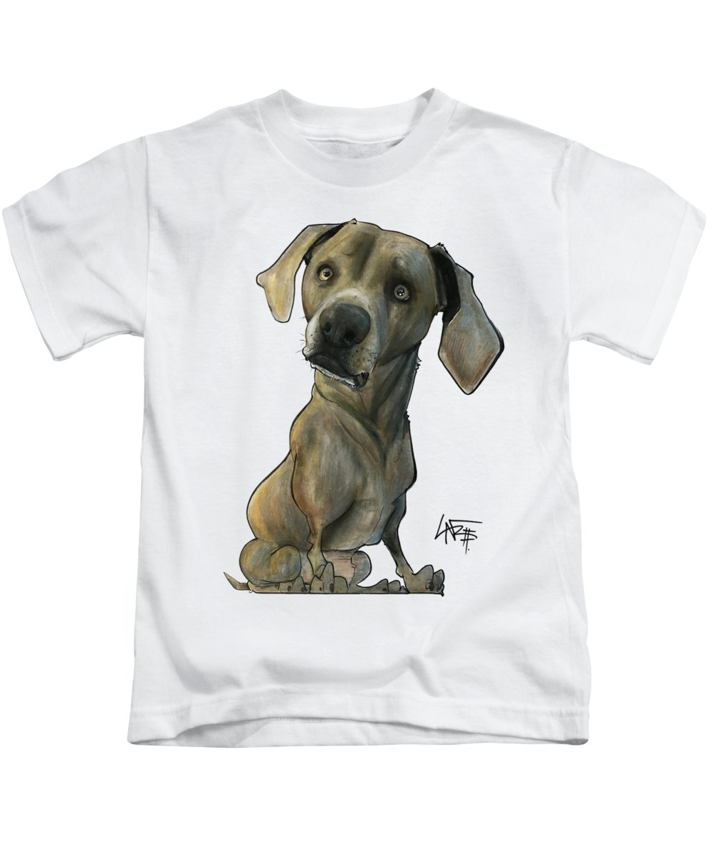 Pet Portrait Kids T-Shirt featuring the drawing Womack 3291 Cooper by John LaFree