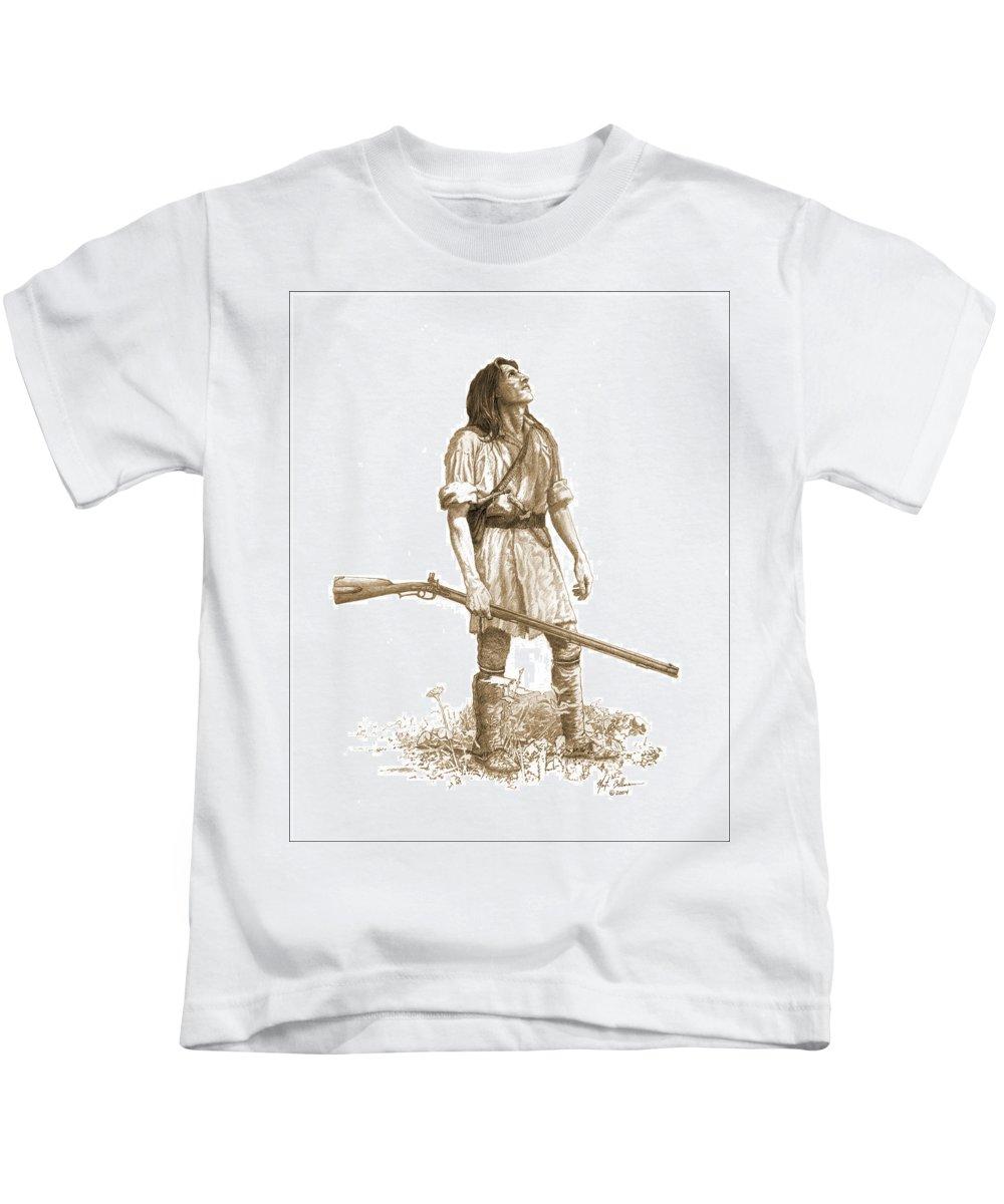 Pencil Kids T-Shirt featuring the drawing Woodsman by Martin Bellmann