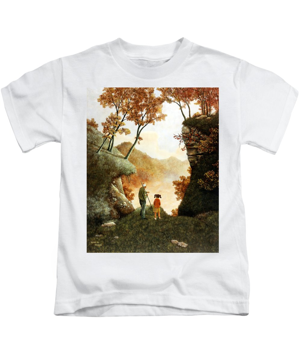 Mountain Kids T-Shirt featuring the painting Words Of Wisdom by Duane R Probus
