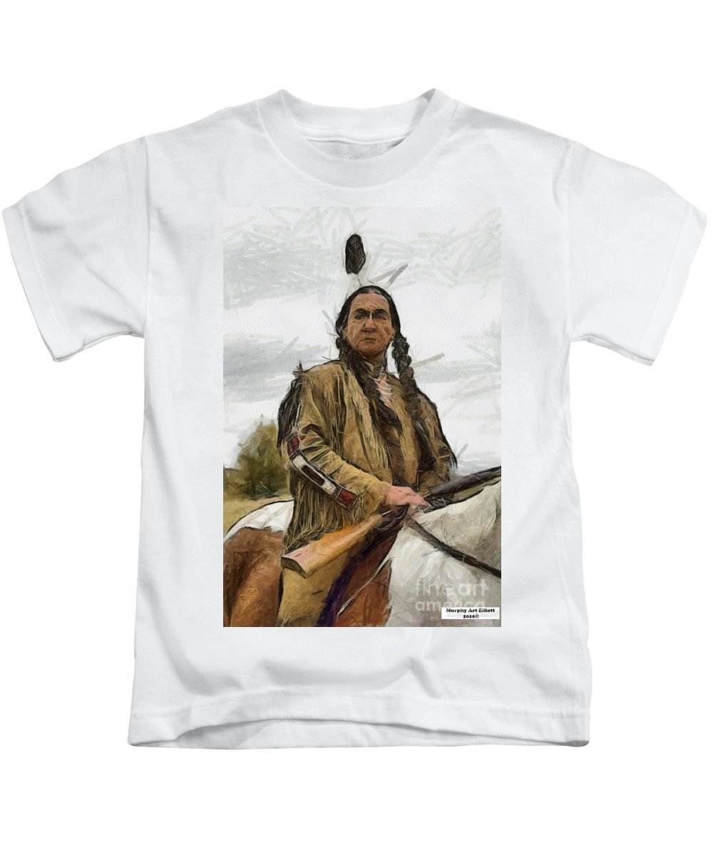 Portrait Kids T-Shirt featuring the painting Wounded Knee by Murphy Elliott