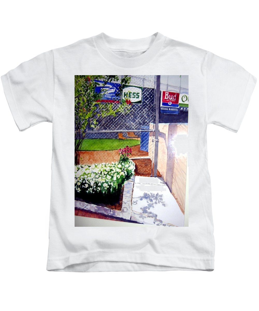 Ballpark Kids T-Shirt featuring the painting Yankee Stadium by Sandy Ryan