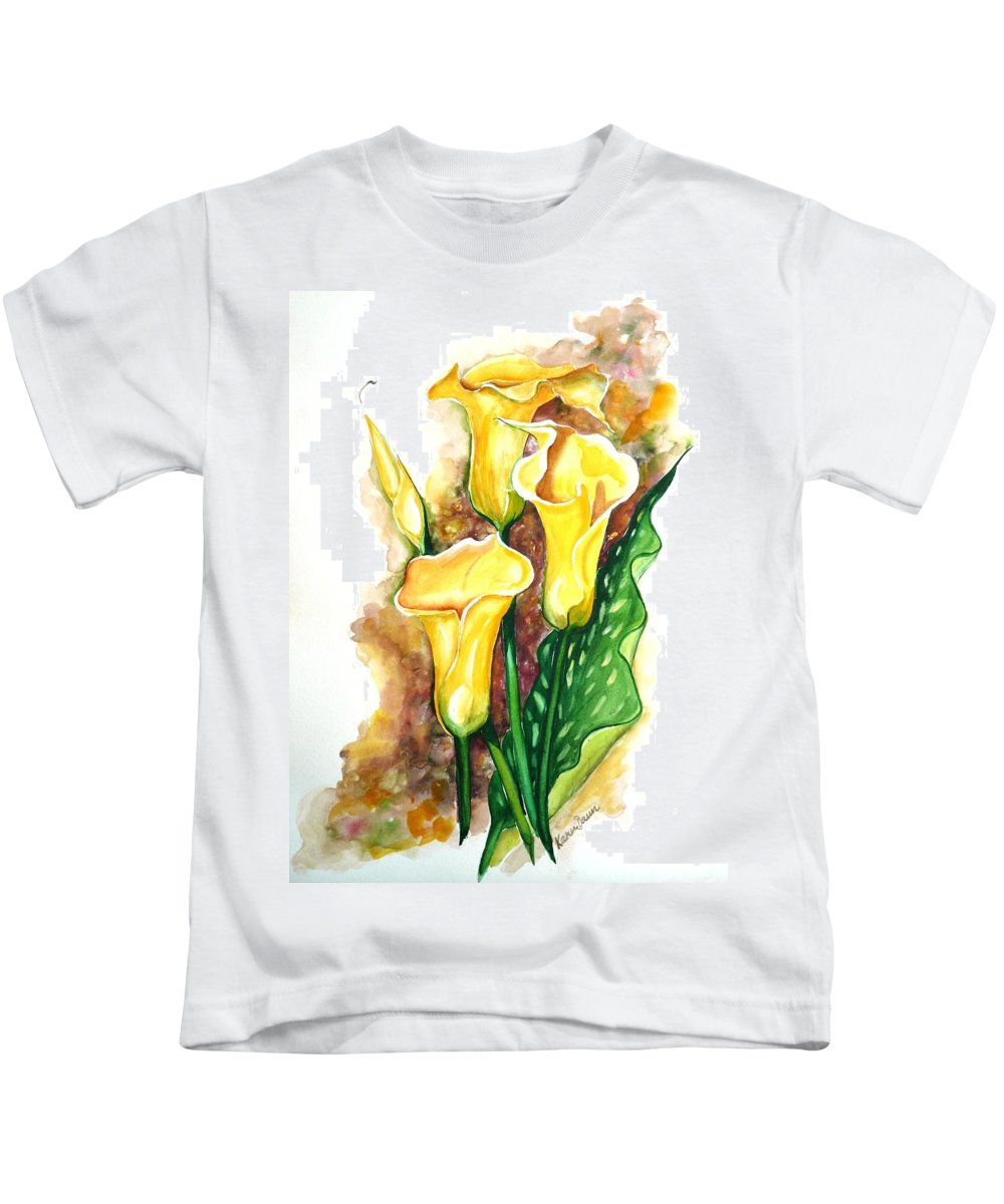 Flower Paintings Floral Paintings `yellow Flower Paintings  Lily Paintings Calla Lily Paintings  Botanical Paintings Greeting Card Paintings Canvas Print Paintings Poster Print Paintings Kids T-Shirt featuring the painting Yellow Callas by Karin Dawn Kelshall- Best