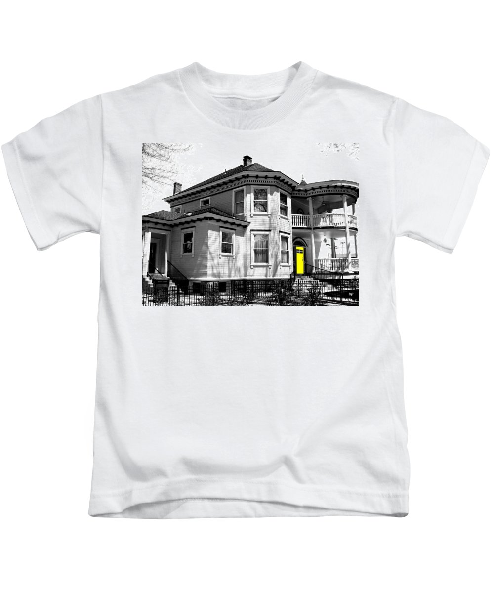 House Kids T-Shirt featuring the digital art Yellow Door by Will Borden