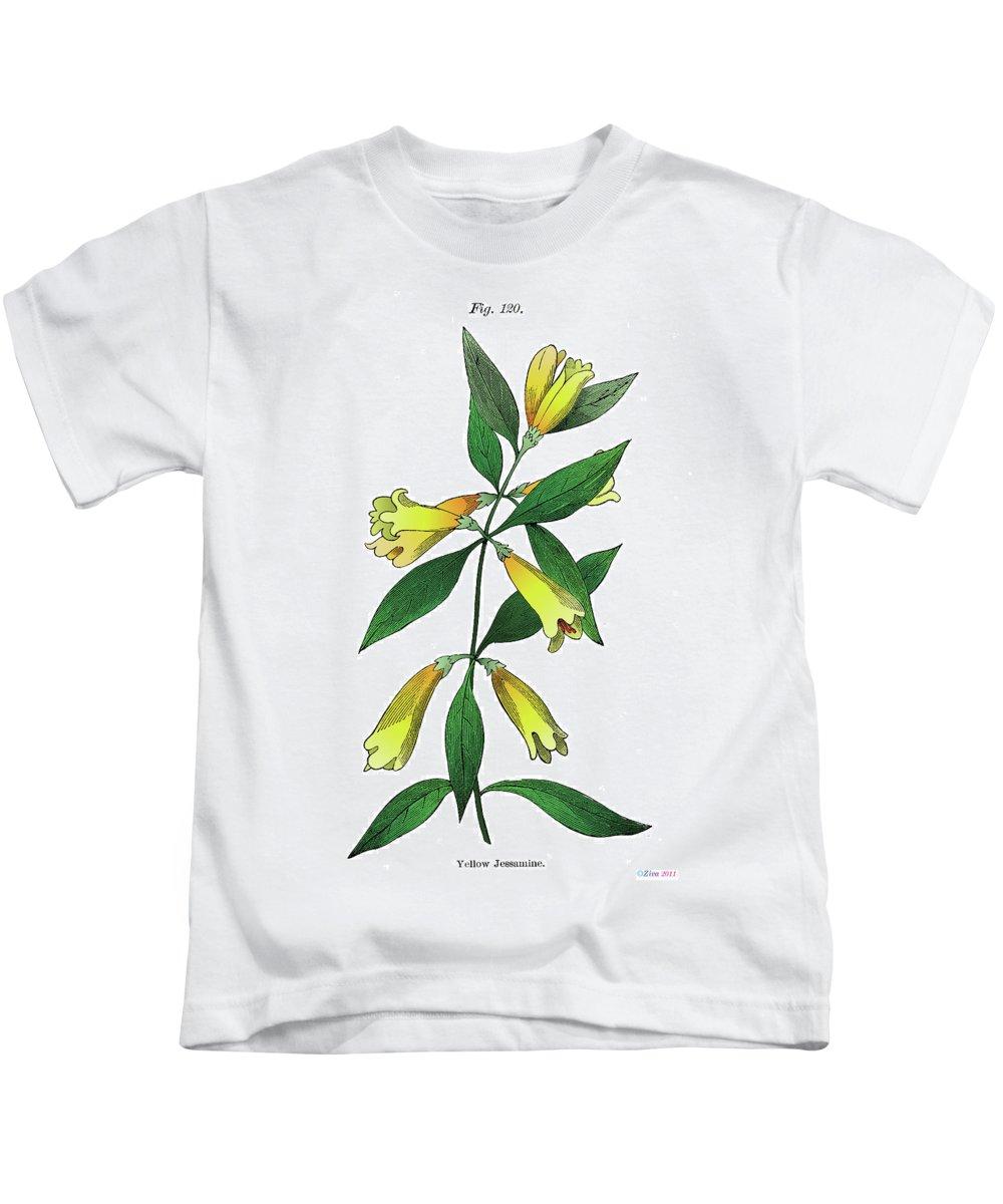 Yellow Jessamine Kids T-Shirt featuring the digital art Yellow Jessamine by Ziva