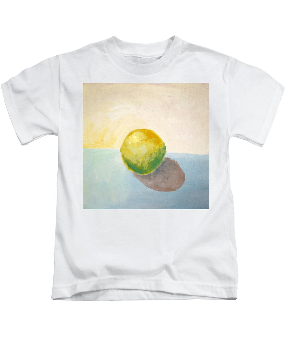 Lemon Kids T-Shirt featuring the painting Yellow Lemon Still Life by Michelle Calkins