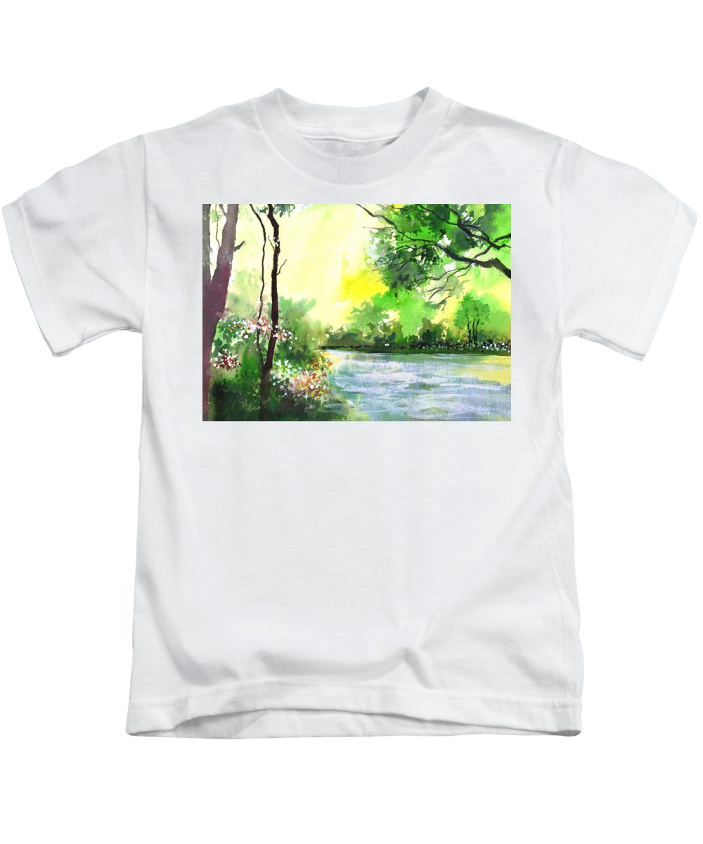 Sky Kids T-Shirt featuring the painting Yellow Sky by Anil Nene