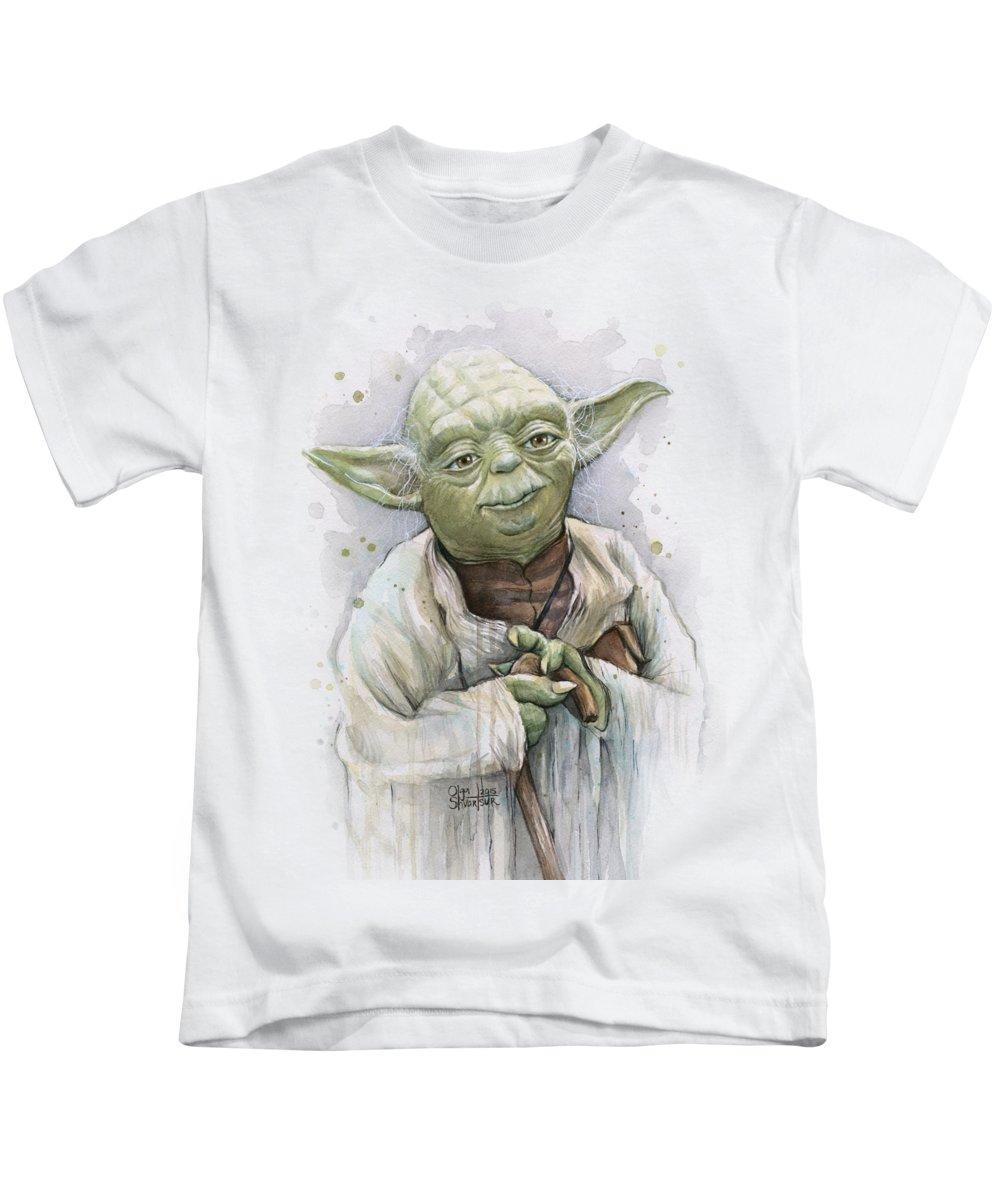 Yoda Kids T-Shirt featuring the painting Yoda by Olga Shvartsur