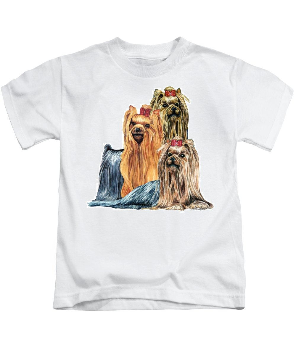 Yorkshire Terrier Kids T-Shirt featuring the drawing Yorkshire Terriers by Kathleen Sepulveda