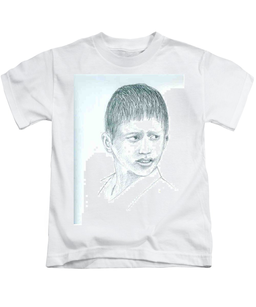 Kids T-Shirt featuring the drawing Young Boy by Asha Sudhaker Shenoy