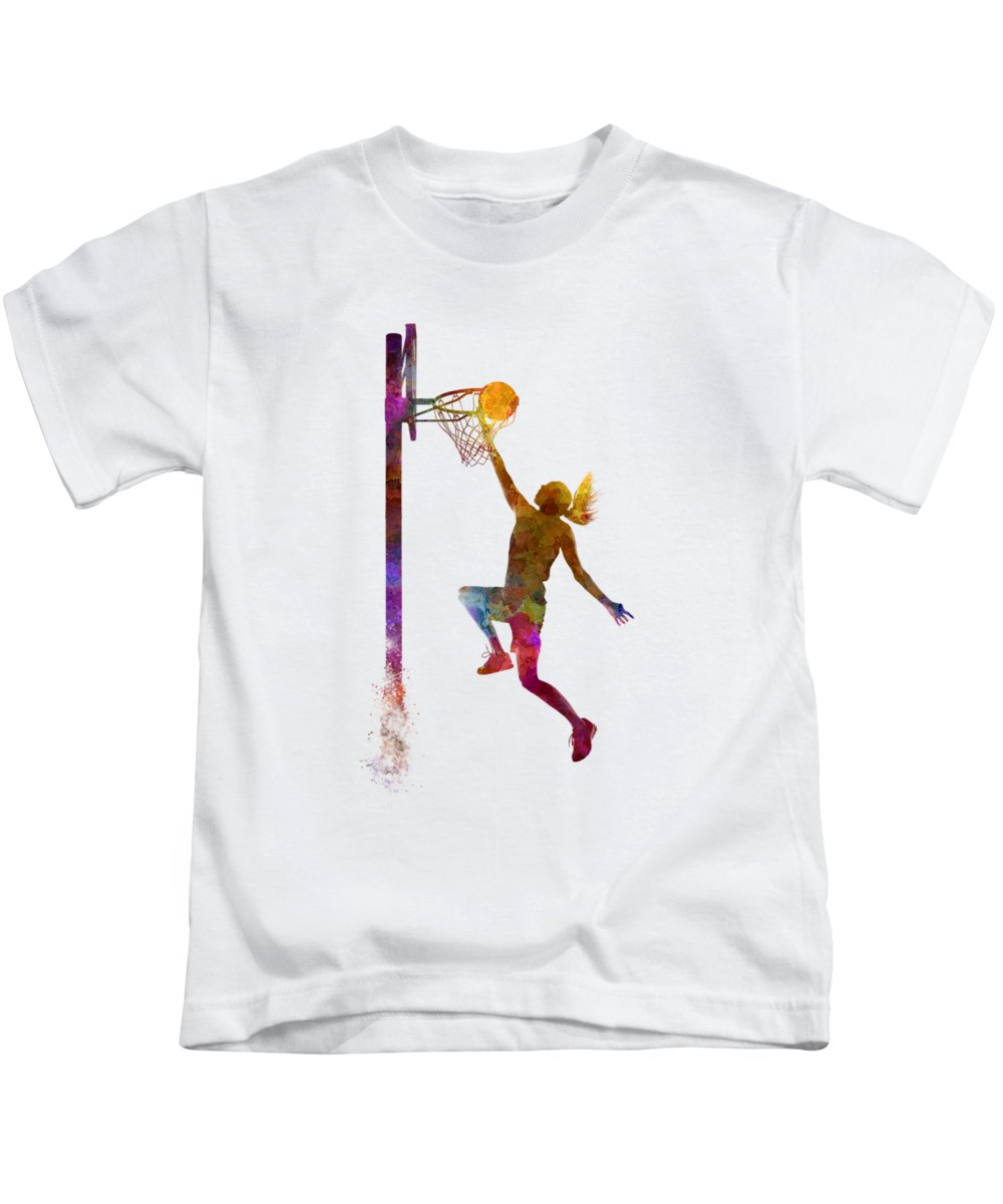 Young Woman Basketball Player In Watercolor Kids T-Shirt featuring the painting Young woman basketball player 04 in watercolor by Pablo Romero