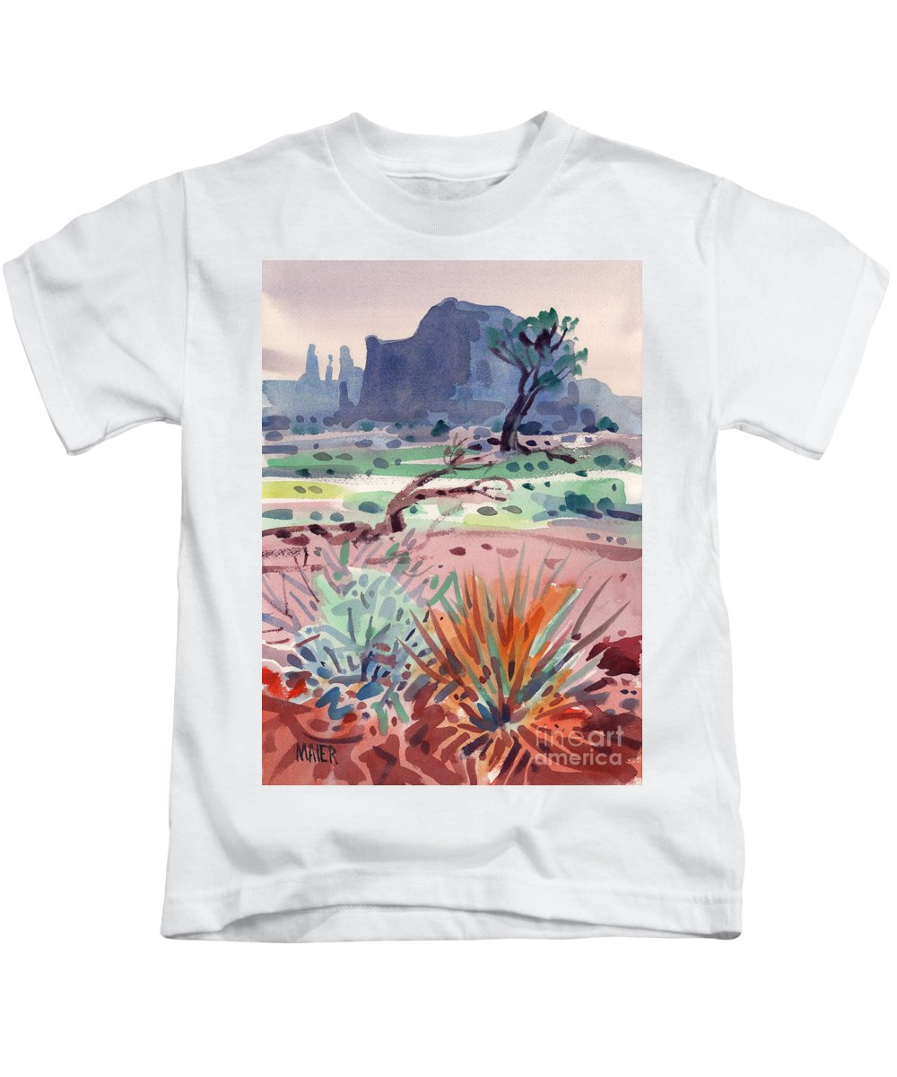 Monument Valley Kids T-Shirt featuring the painting Yucca And Buttes by Donald Maier
