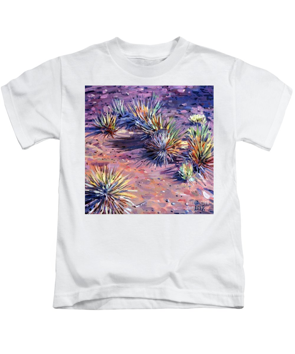 Yucca Kids T-Shirt featuring the painting Yucca In Monument Valley by Donald Maier