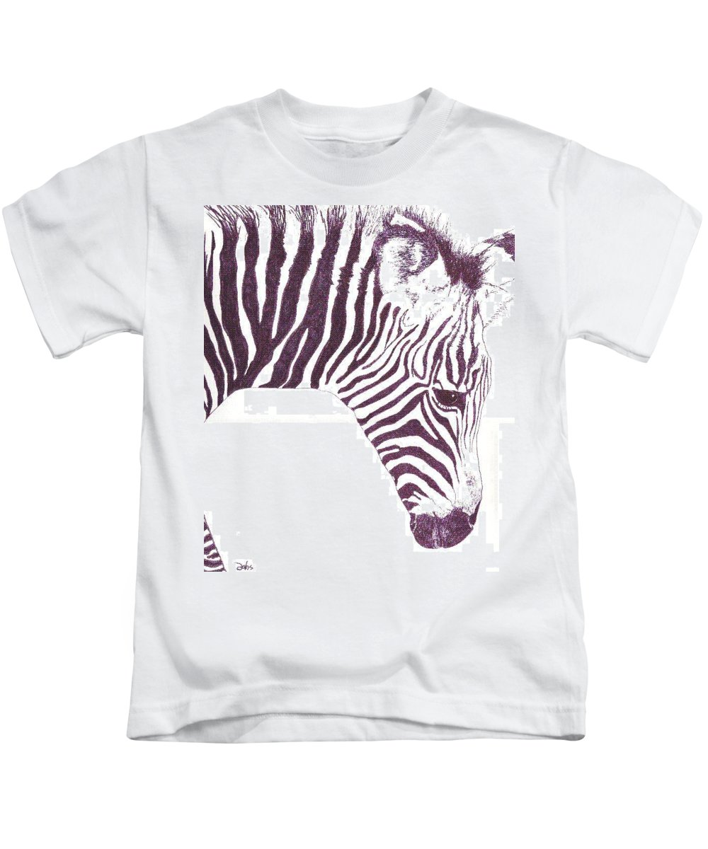 Zebra Kids T-Shirt featuring the painting Zebra Colt by Debra Sandstrom