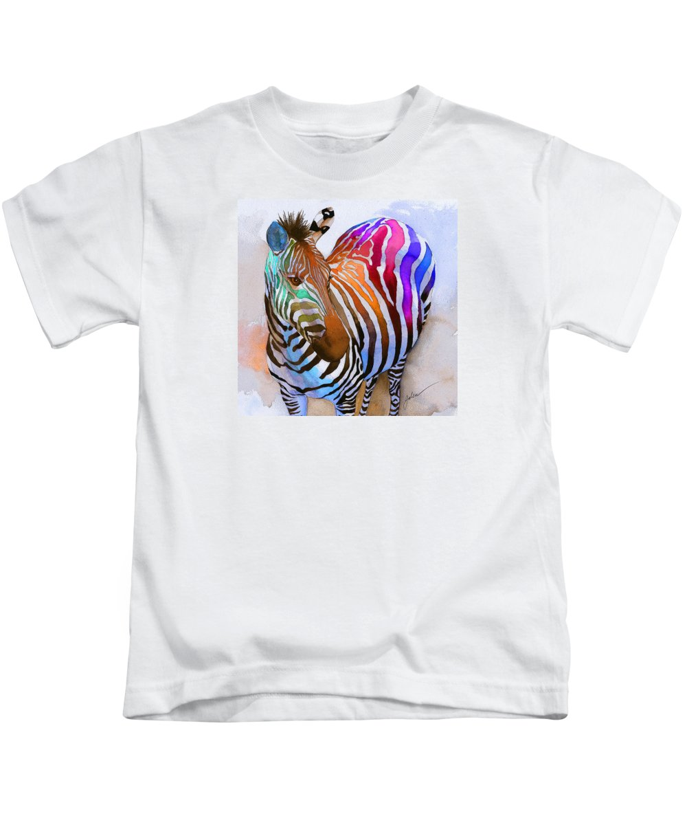 Colorful Kids T-Shirt featuring the painting Zebra Dreams by Galen Hazelhofer