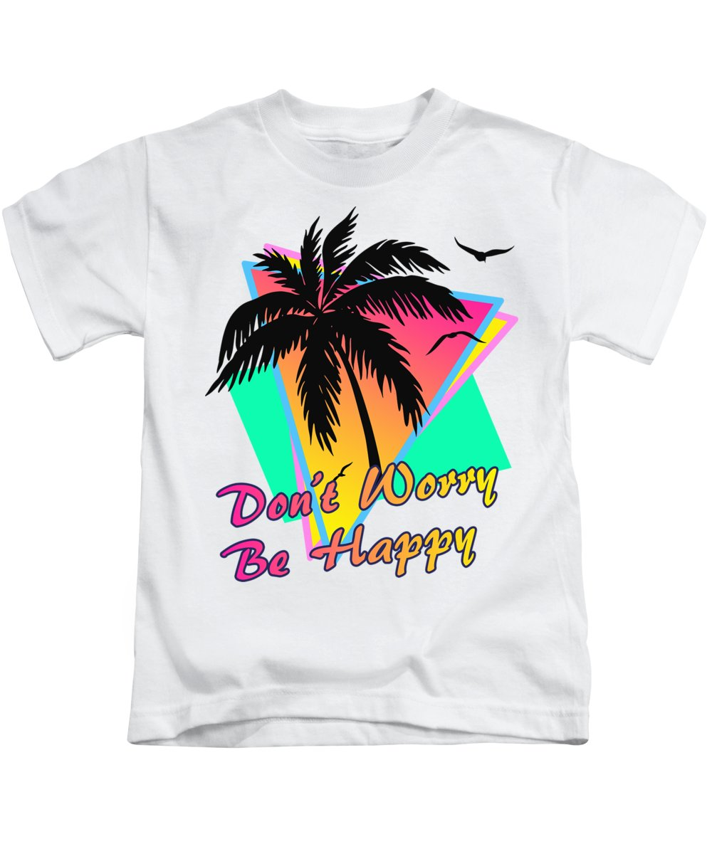 Sunset Kids T-Shirt featuring the digital art Don't Worry Be Happy by Filip Hellman