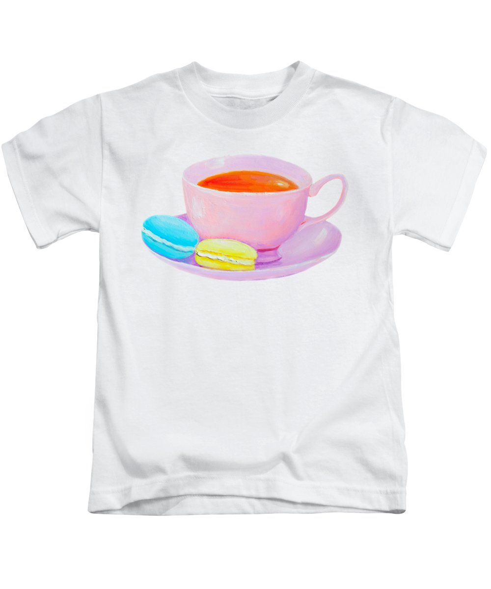 Tea Cup Kids T-Shirt featuring the painting Tea And Macaroons by Jan Matson