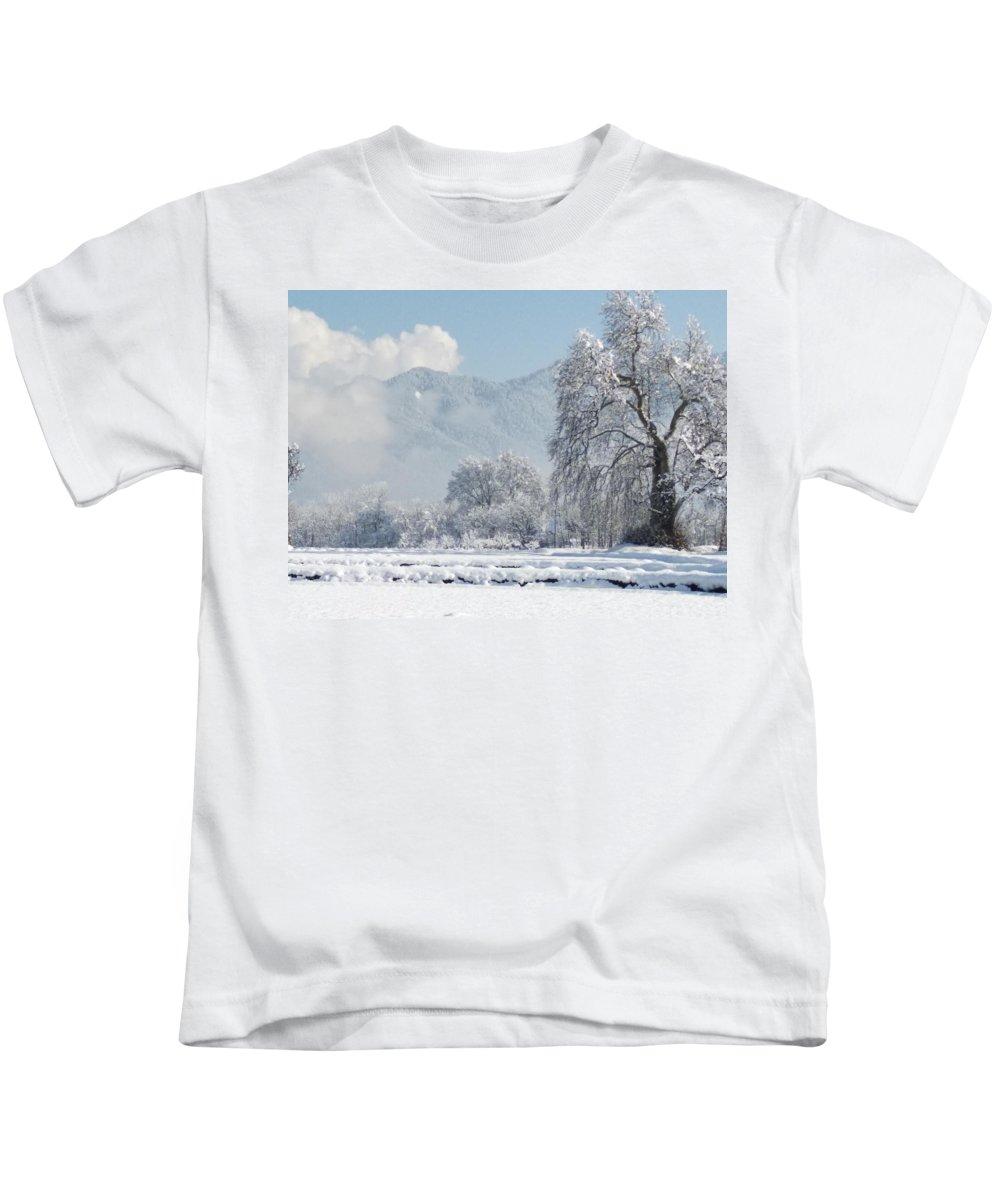 Kids T-Shirt featuring the photograph The Snow Story by Jacob