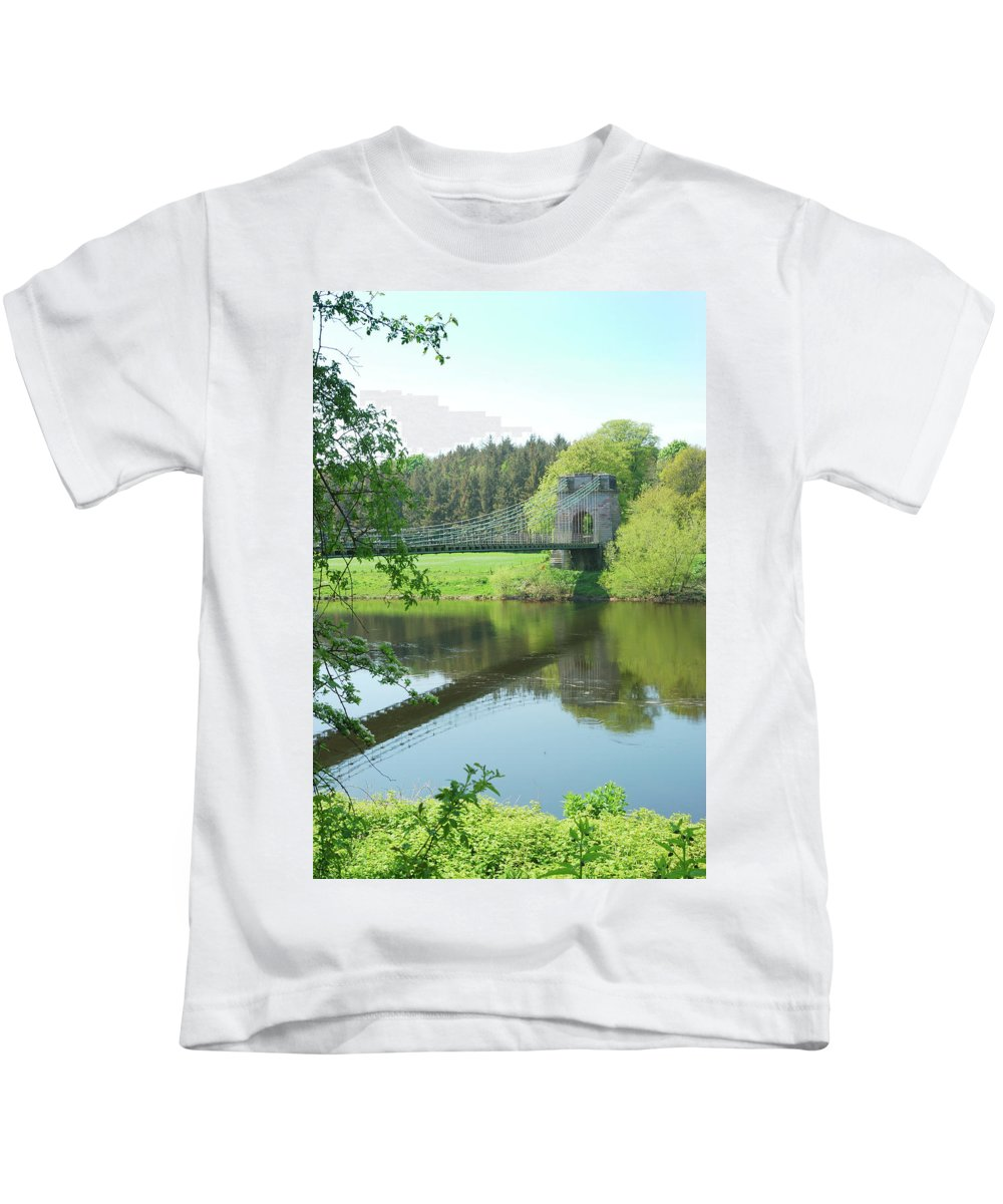 Bridge Kids T-Shirt featuring the photograph Union Bridge At Horncliffe On River Tweed by Victor Lord Denovan