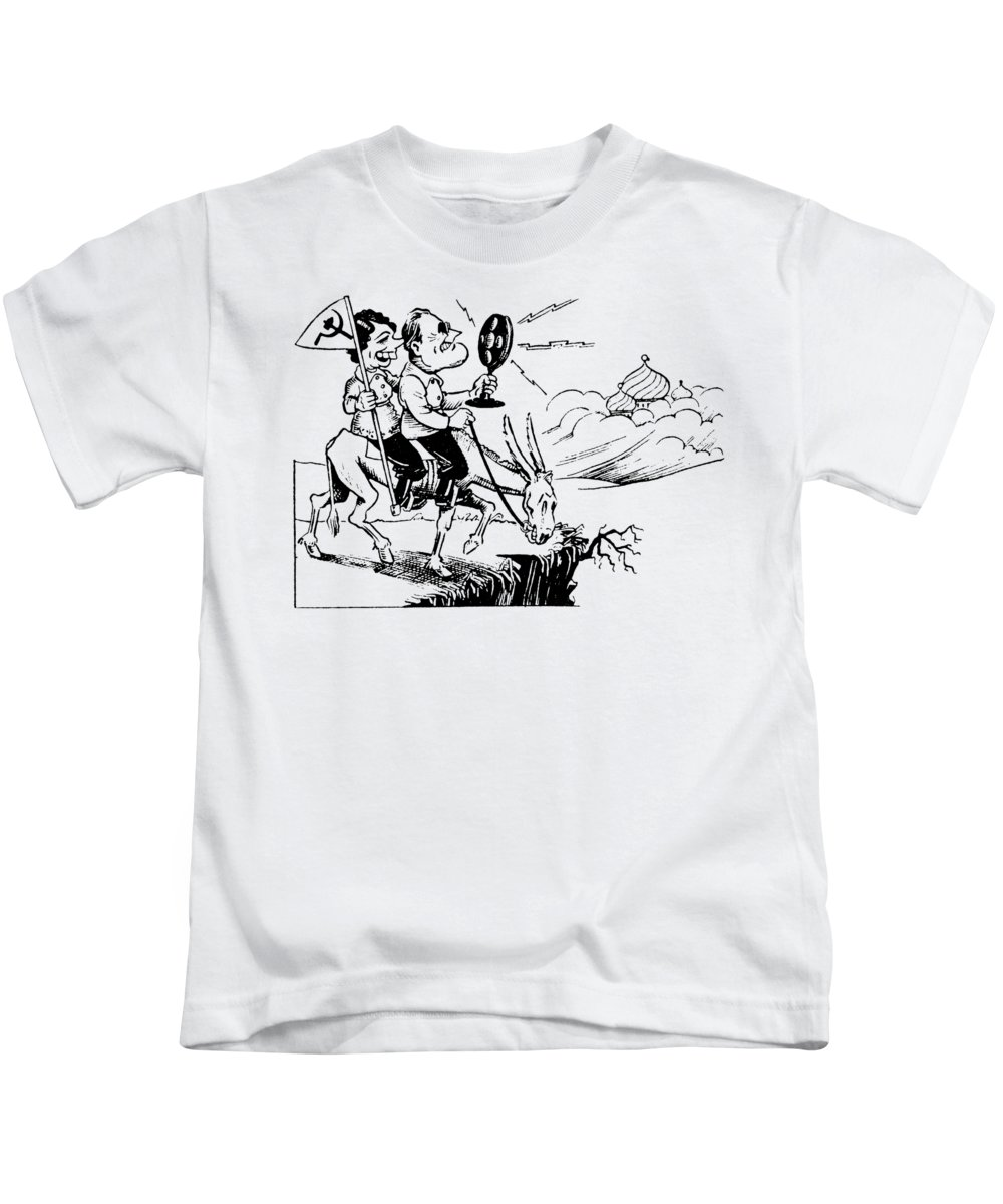 Fdr Kids T-Shirt featuring the drawing 1935 Franklin D. Roosevely, Communist by Historic Image