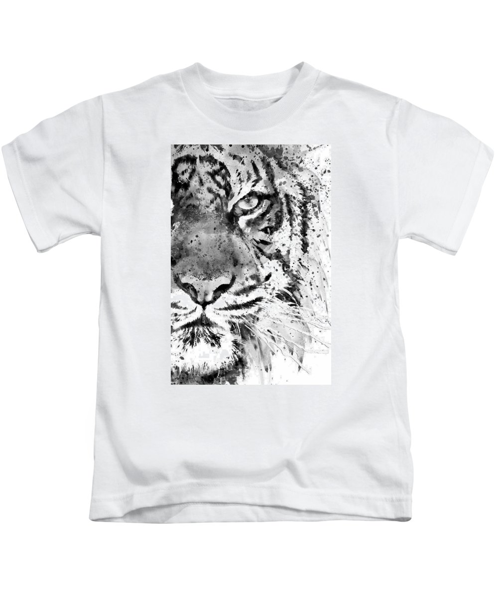 Tiger Kids T-Shirt featuring the painting Black And White Half Faced Tiger by Marian Voicu