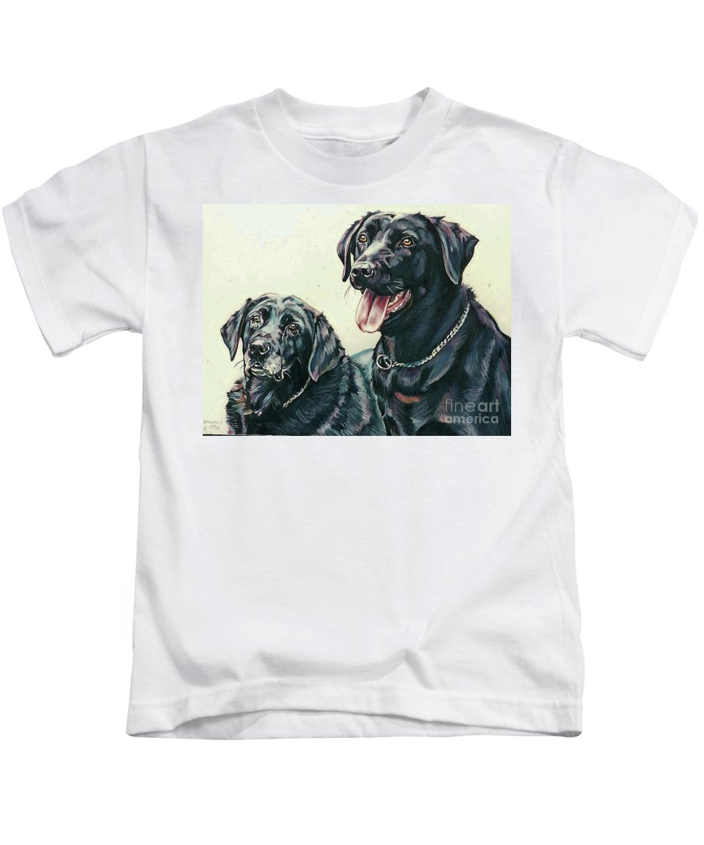 Labrador Retrievers Kids T-Shirt featuring the painting 2 Labs by Suzanne Leonard