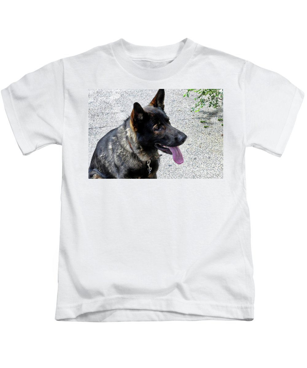 German Shepherd Kids T-Shirt featuring the photograph Absolute Loyalty by Amy Dundon