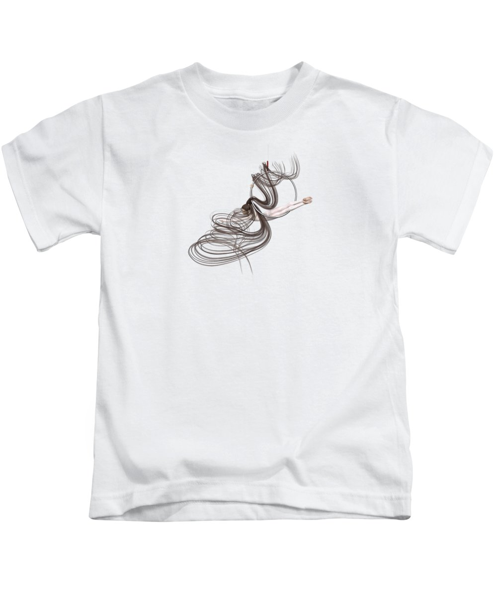 Dance Kids T-Shirt featuring the digital art Aerial Hoop Dancing Happiness by Betsy Knapp