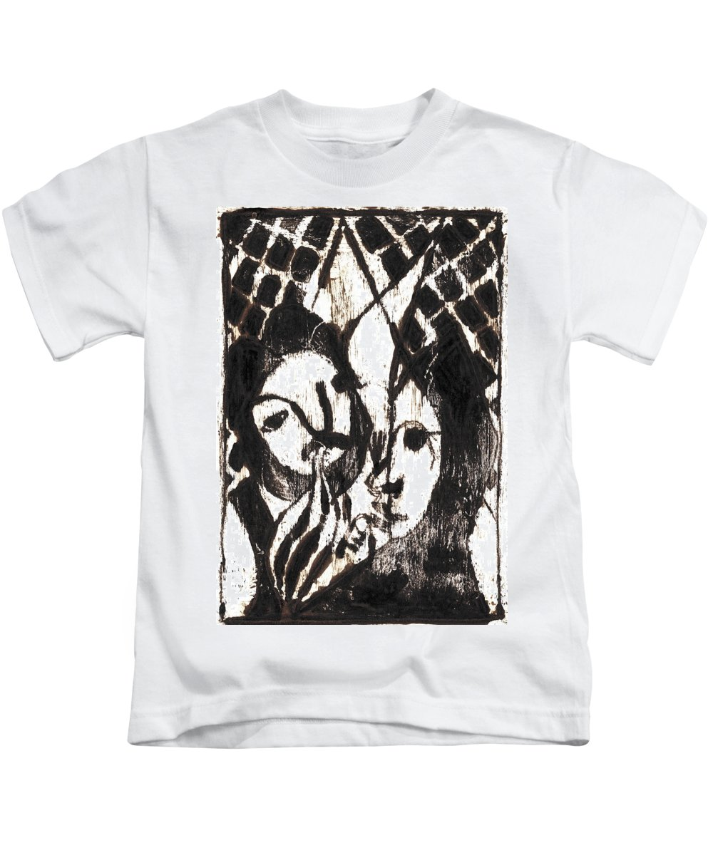 Michel Larionov Kids T-Shirt featuring the painting After Mikhail Larionov Black Oil Painting 14 by Edgeworth DotBlog
