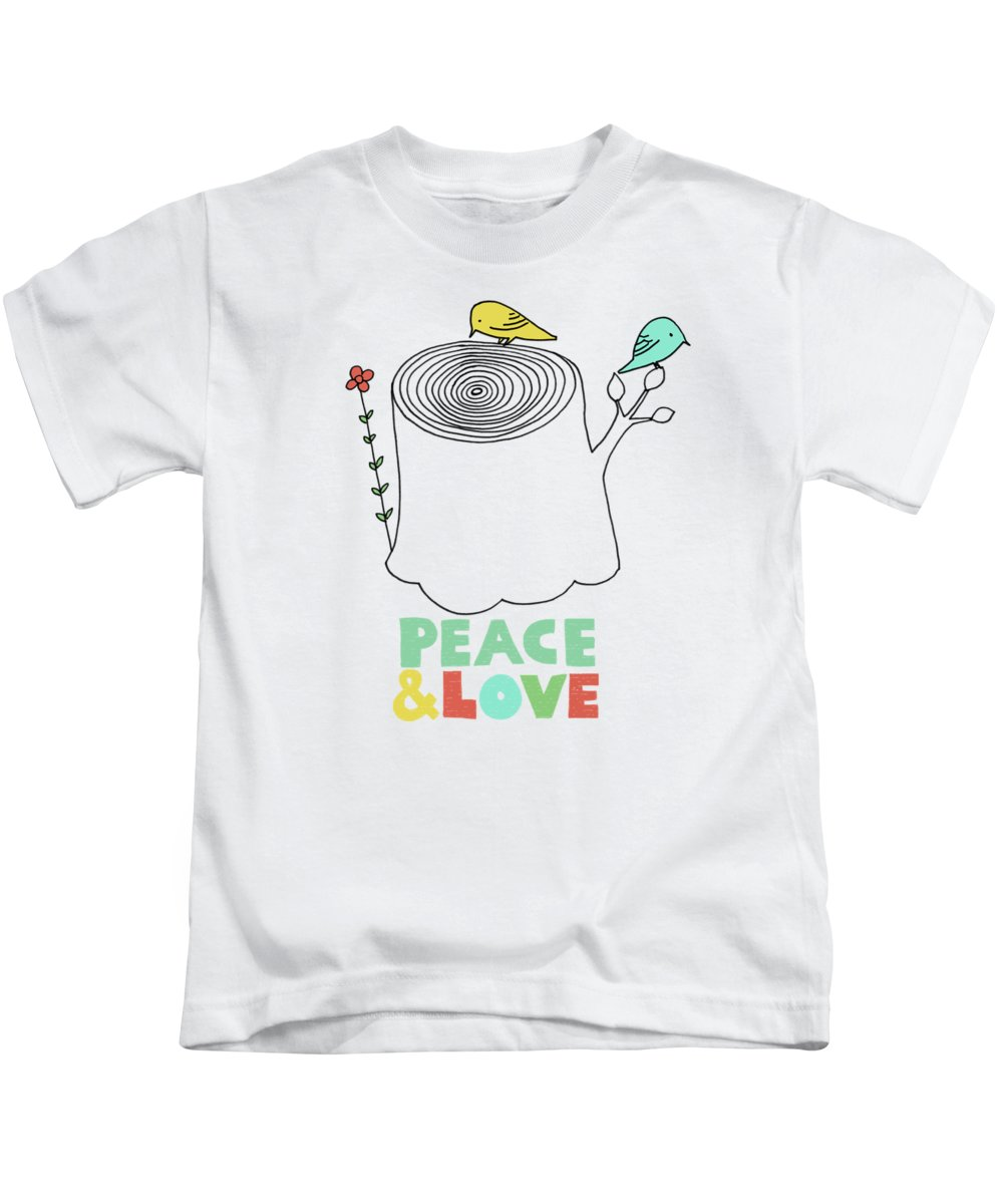 Birds Kids T-Shirt featuring the drawing Peace and Love by Eric Fan