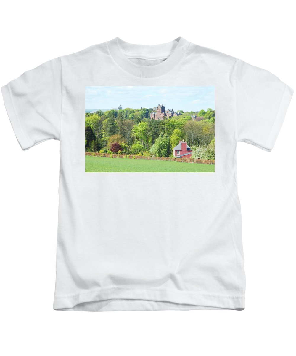 Berwickshire Kids T-Shirt featuring the photograph Ayton Castle by Victor Lord Denovan