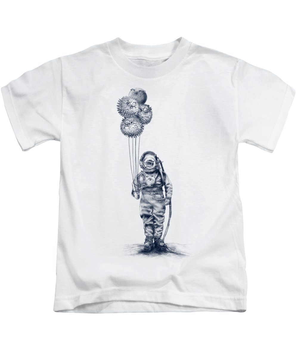 Pen And Ink Kids T-Shirt featuring the drawing Balloon Fish option by Eric Fan
