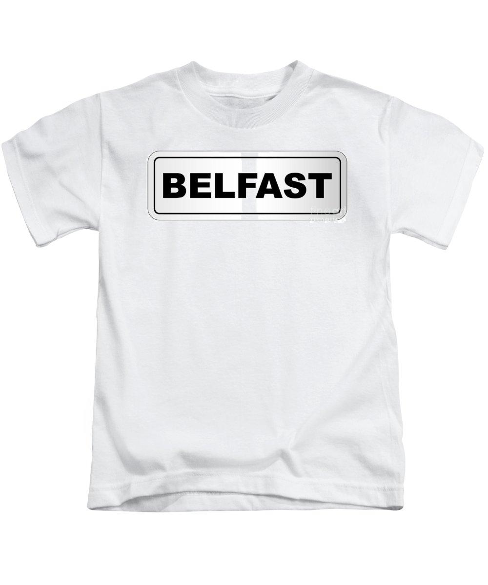 Belfast Kids T-Shirt featuring the digital art Belfast City Nameplate by Bigalbaloo Stock