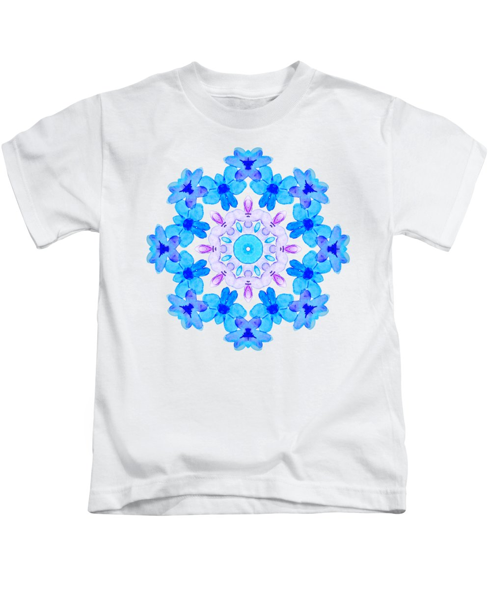 Flower Kids T-Shirt featuring the painting Blue Flowers Watercolor Mandala by Boriana Giormova