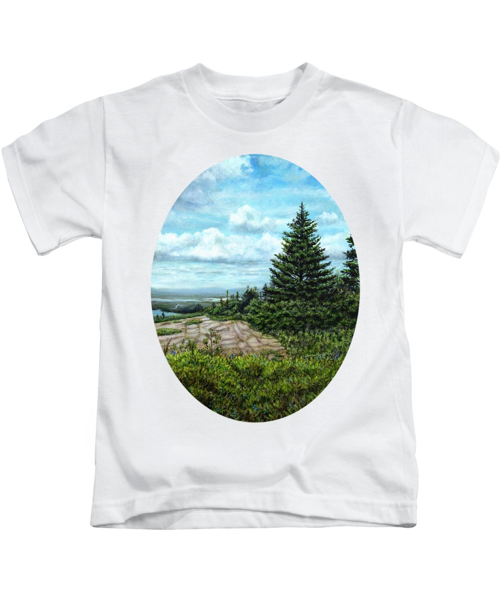 Cadillac Mountain Kids T-Shirt featuring the painting Blueberries On Cadillac Mountain by Shana Rowe Jackson