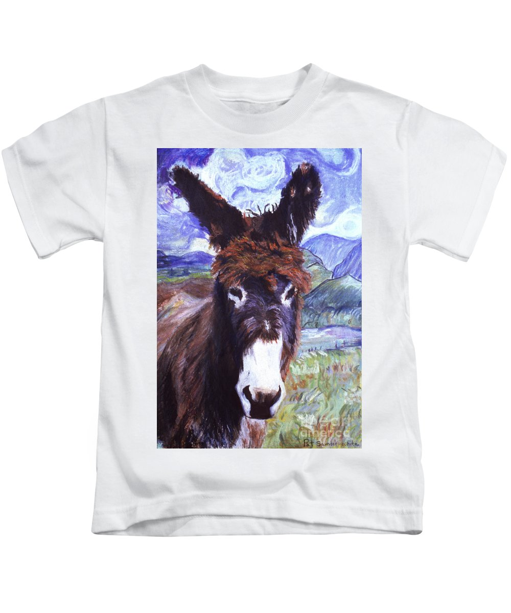 Burro Kids T-Shirt featuring the painting Carrot Top by Pat Saunders-White