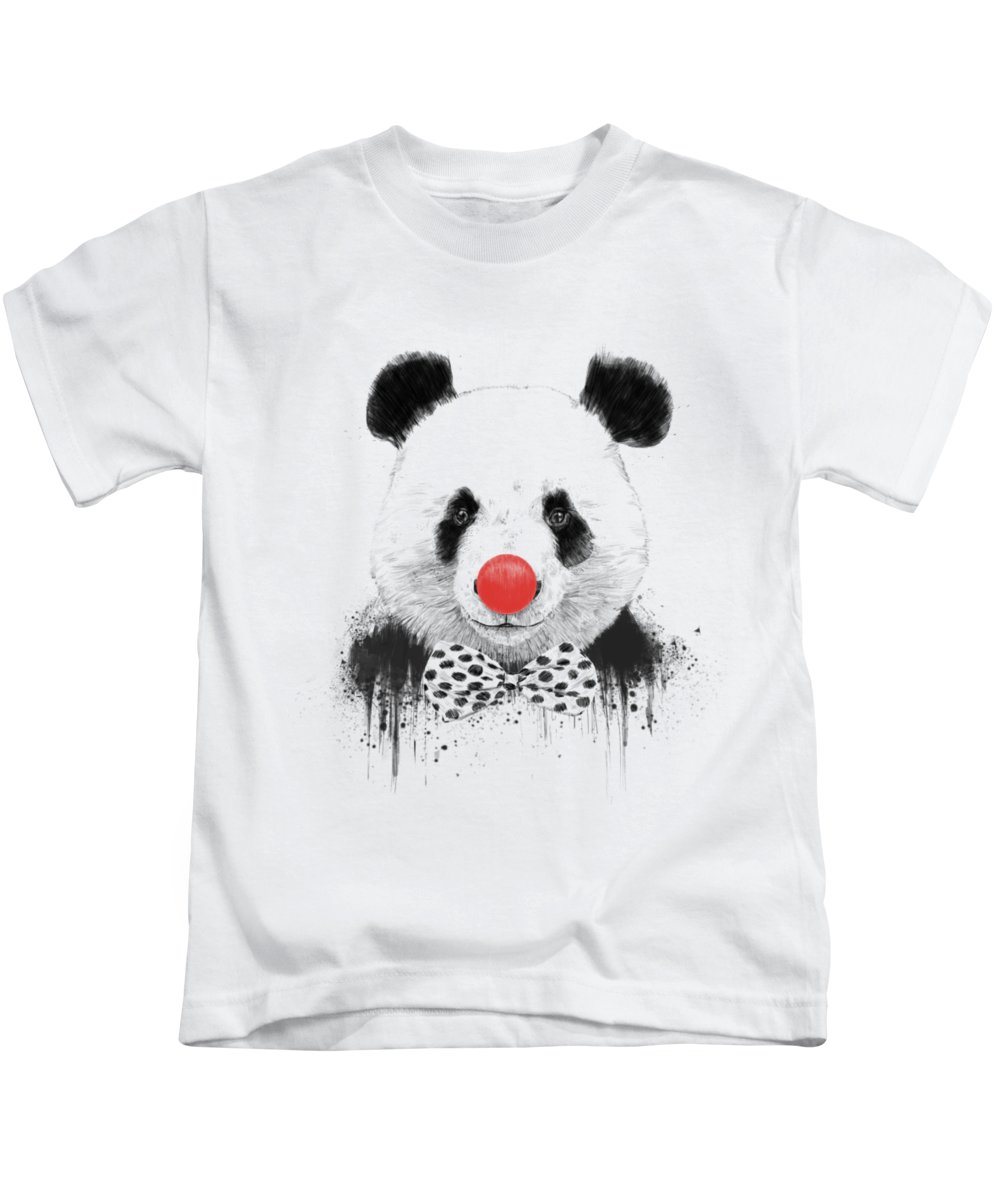 Panda Kids T-Shirt featuring the mixed media Clown panda by Balazs Solti