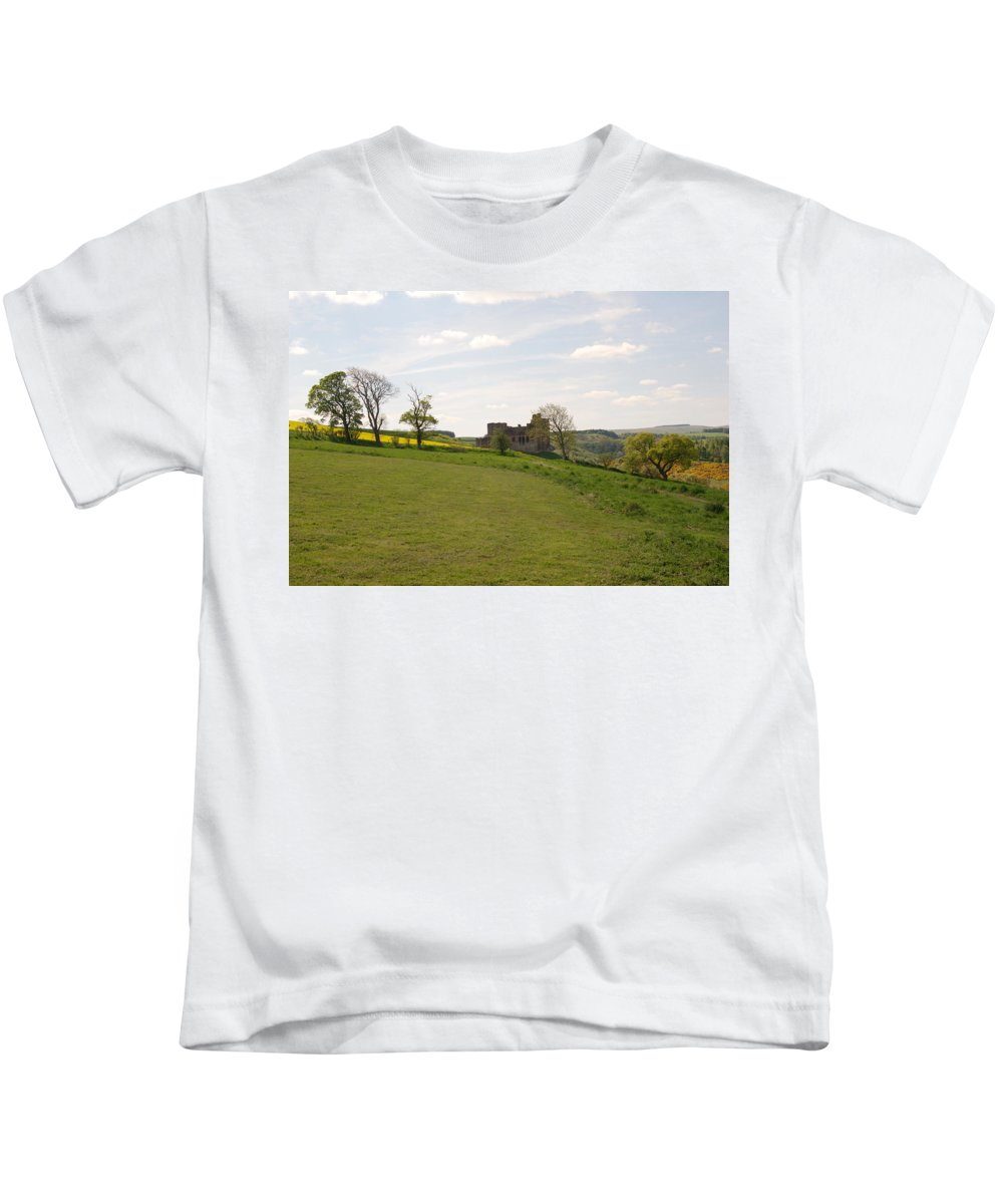 Castle Kids T-Shirt featuring the photograph Crighton Castle Ruins And Hills, Midlothian by Victor Lord Denovan