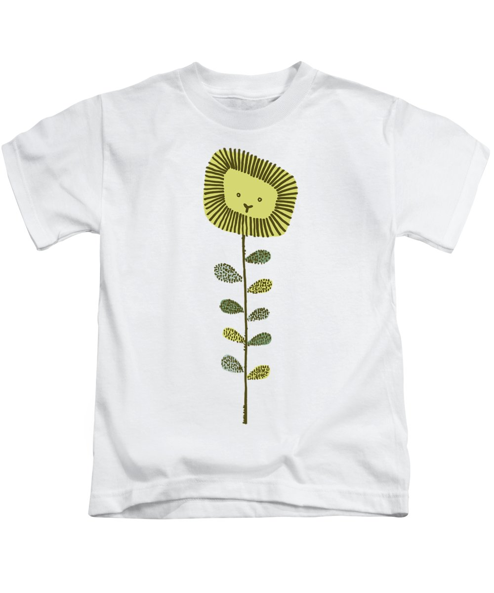 Lion Kids T-Shirt featuring the drawing Dandy by Eric Fan