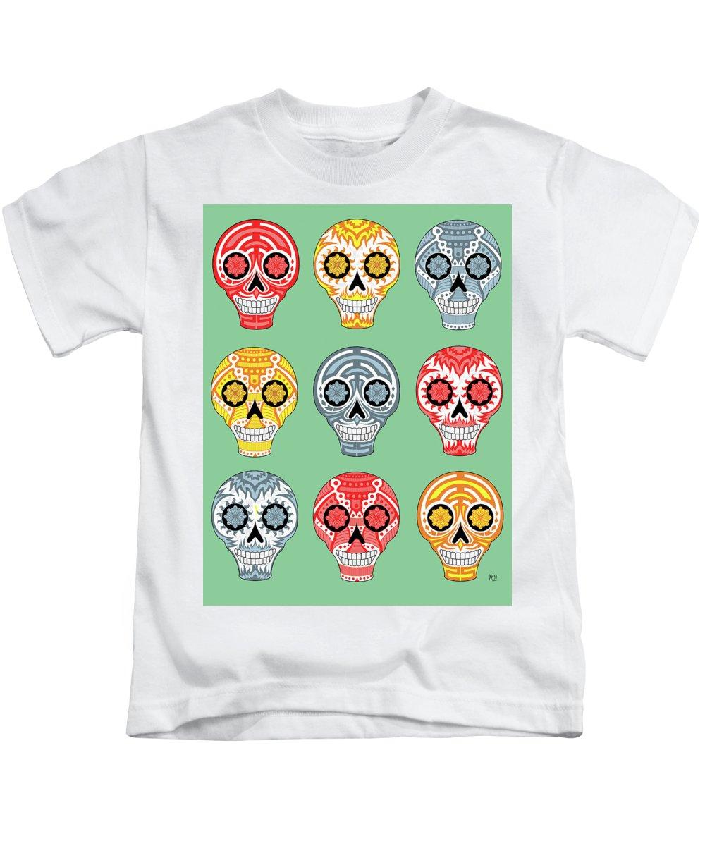 Skull Kids T-Shirt featuring the digital art Dia De Muertos Skulls by Mark Gillespie