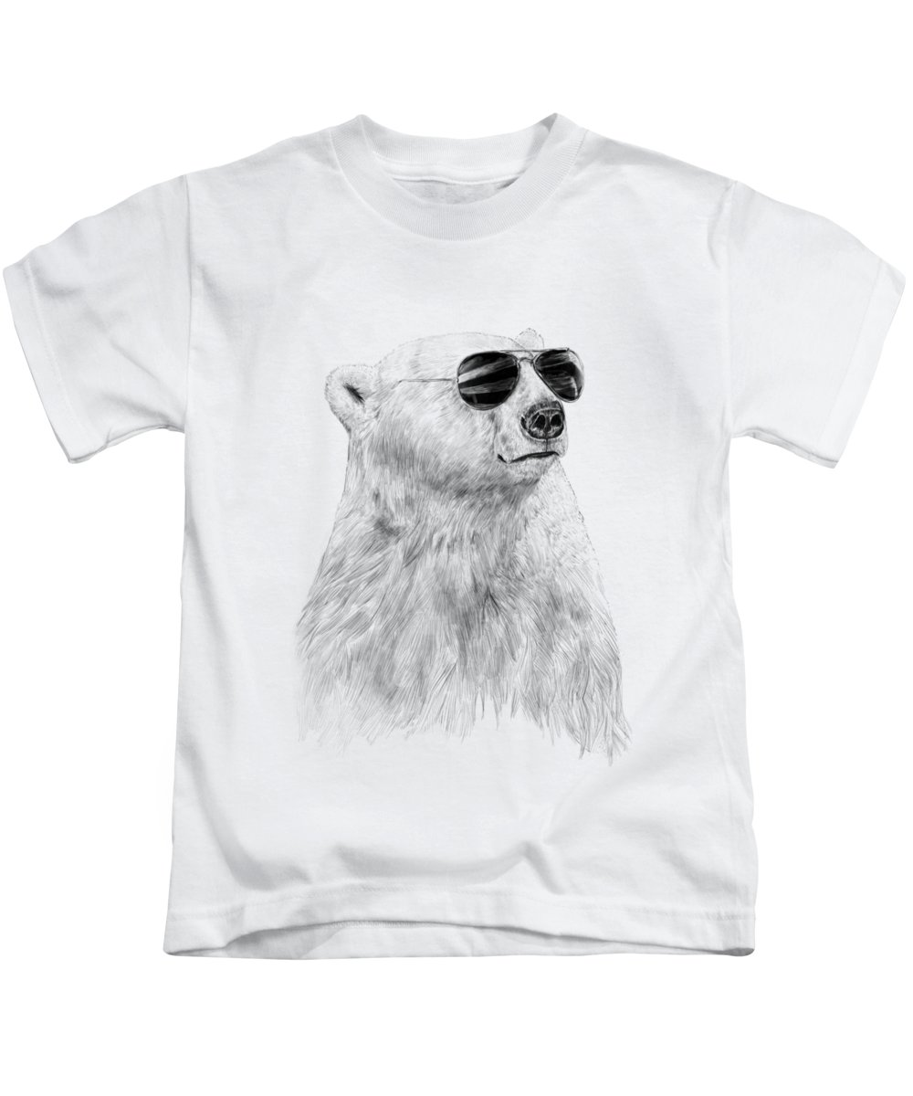 Polar Bear Kids T-Shirt featuring the drawing Don't let the sun go down by Balazs Solti