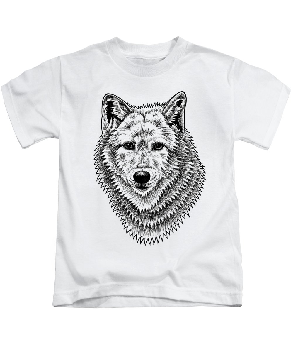 Wolf Kids T-Shirt featuring the drawing European Wolf - Ink Illustration by Loren Dowding